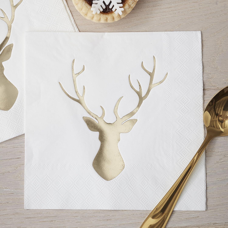 Ginger Ray Gold Foiled Christmas Metallic Stag Party Paper Napkins x 20 - Christmas Metallics