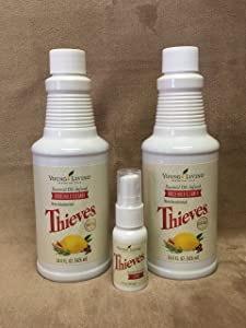Thieves Bundle Household Cleaner 2 pk 14.4 oz bottle and Theives Spray 1fl. oz by Young Living Essential Oils
