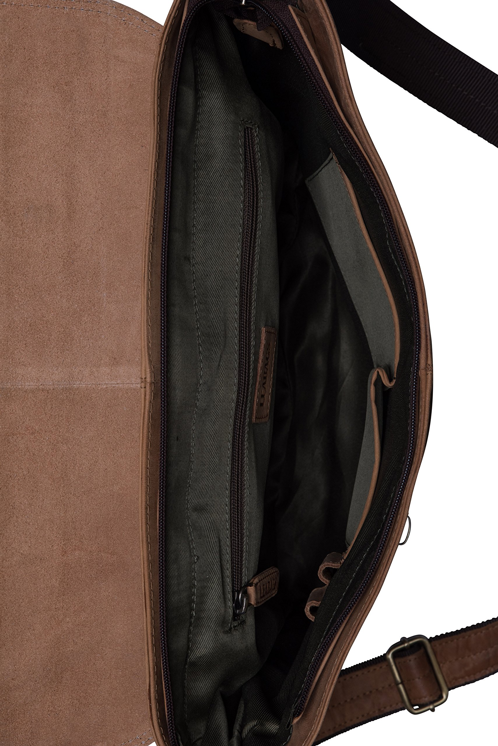LEABAGS Liverpool genuine buffalo leather briefcase in vintage style - Brown by LEABAGS (Image #5)