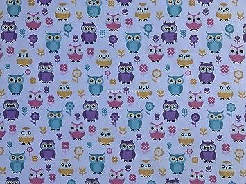 Polycotton Fabric Owls Polka Dots Spots Birds