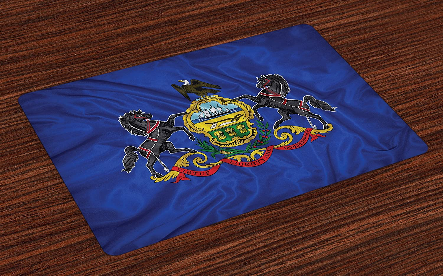 Lunarable American Place Mats Set of 4, Pennsylvania Flag Sheaves of Wheat State Coat of Arms Wavy Patriotic, Washable Fabric Placemats for Dining Room Kitchen Table Decor, Blue Multicolor