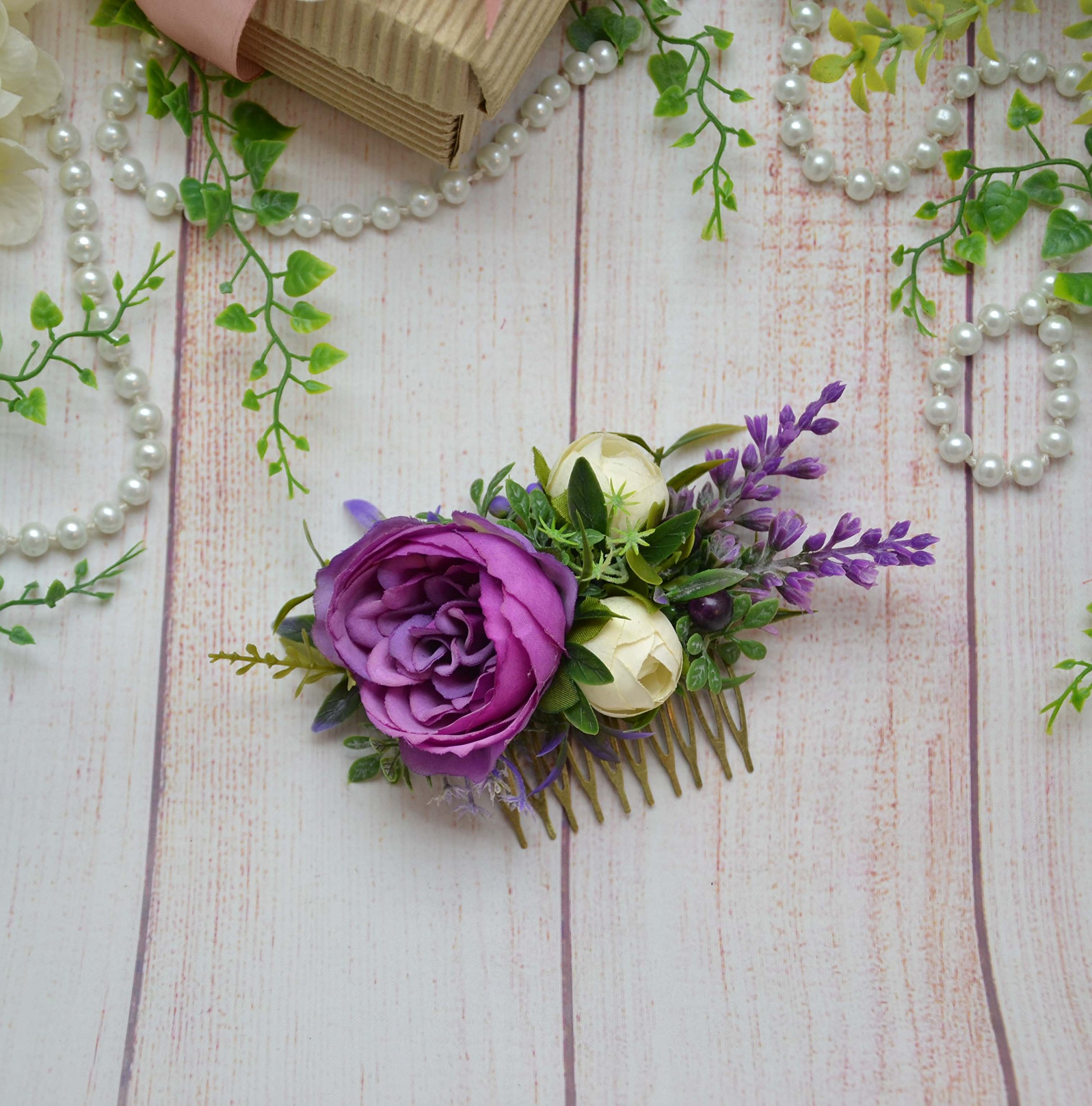 floral hair comb Purple Ivory wedding headpiece with flowers Bridal hair piece Blooming comb