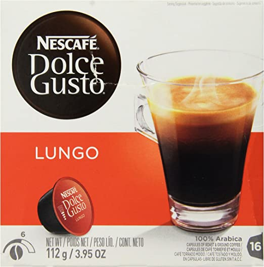 Nescafe - Dolce Gusto - Lungo Coffee Pods 16 Drinks - 112g