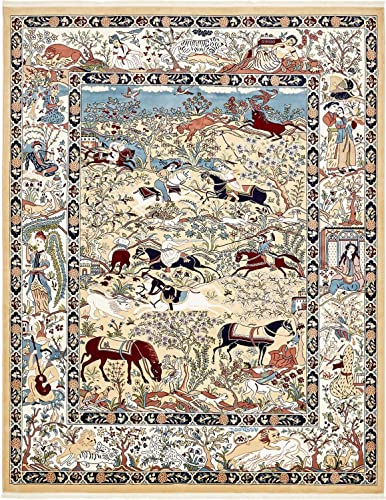 Unique Loom Narenj Collection Classic Traditional Hunting Scene Textured Tan Area Rug 8 0 x 10 0