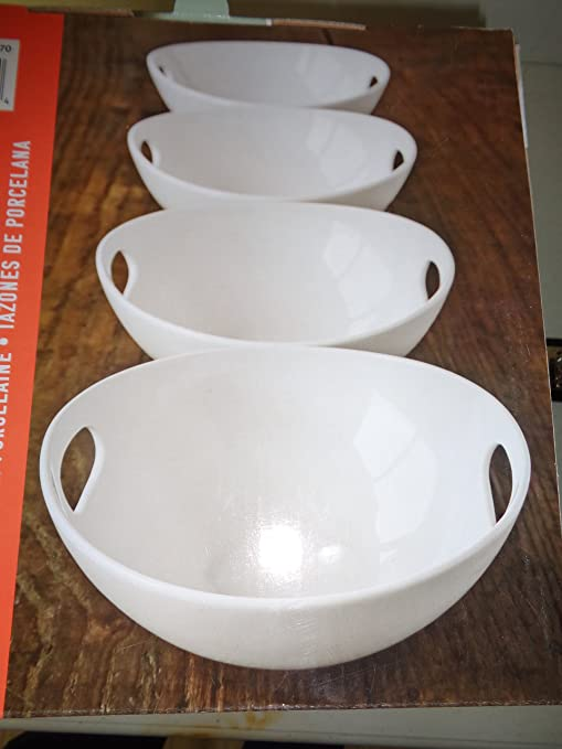 Amazon.com | Over-And-Back 4 Porcelain Serving Bowls Set, White with ...