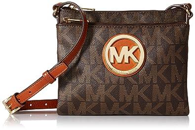 7ca2d4cd099fa9 Michael Kors Fulton Large Crossbody MK Signature PVC Brown: Handbags ...