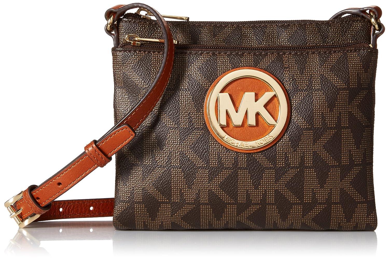 6b75779fc078 ... Michael Kors Fulton Large Crossbody MK Signature PVC Brown Handbags  Amazon.com ...
