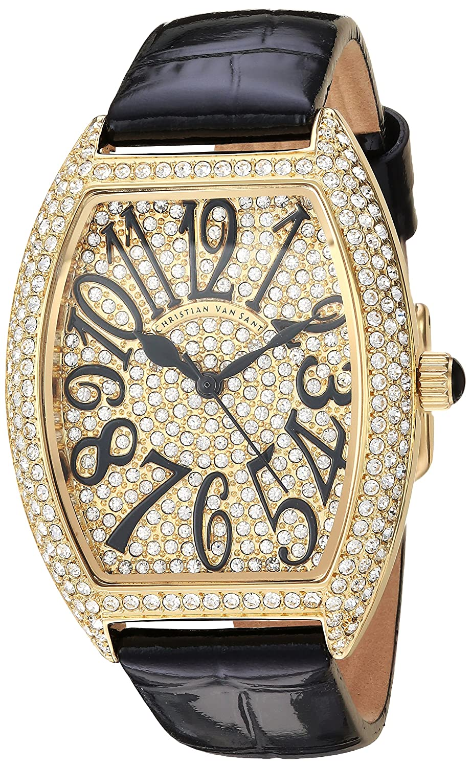 Christian Van Sant Women 's 'エレガント'クオーツBrass andレザーCasual Watch, Color : Black (Model : cv4820 ) B079S1C1PS