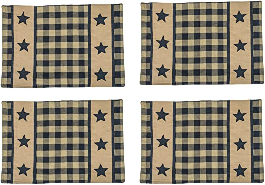Primitive Country Black and Tan Star Placemat