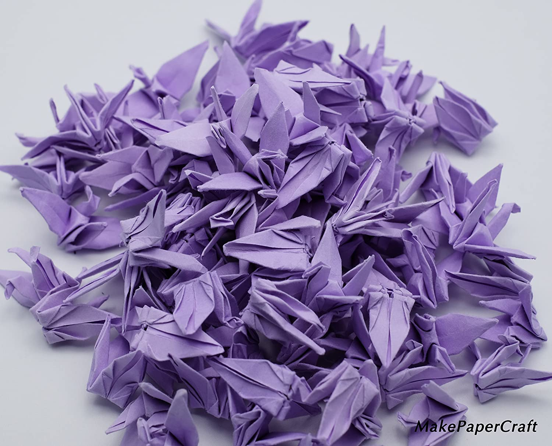 backdrop wedding decorate 100 Origami paper cranes 1.5 Light Purple Origami Cranes paper Crane for Wedding Gift