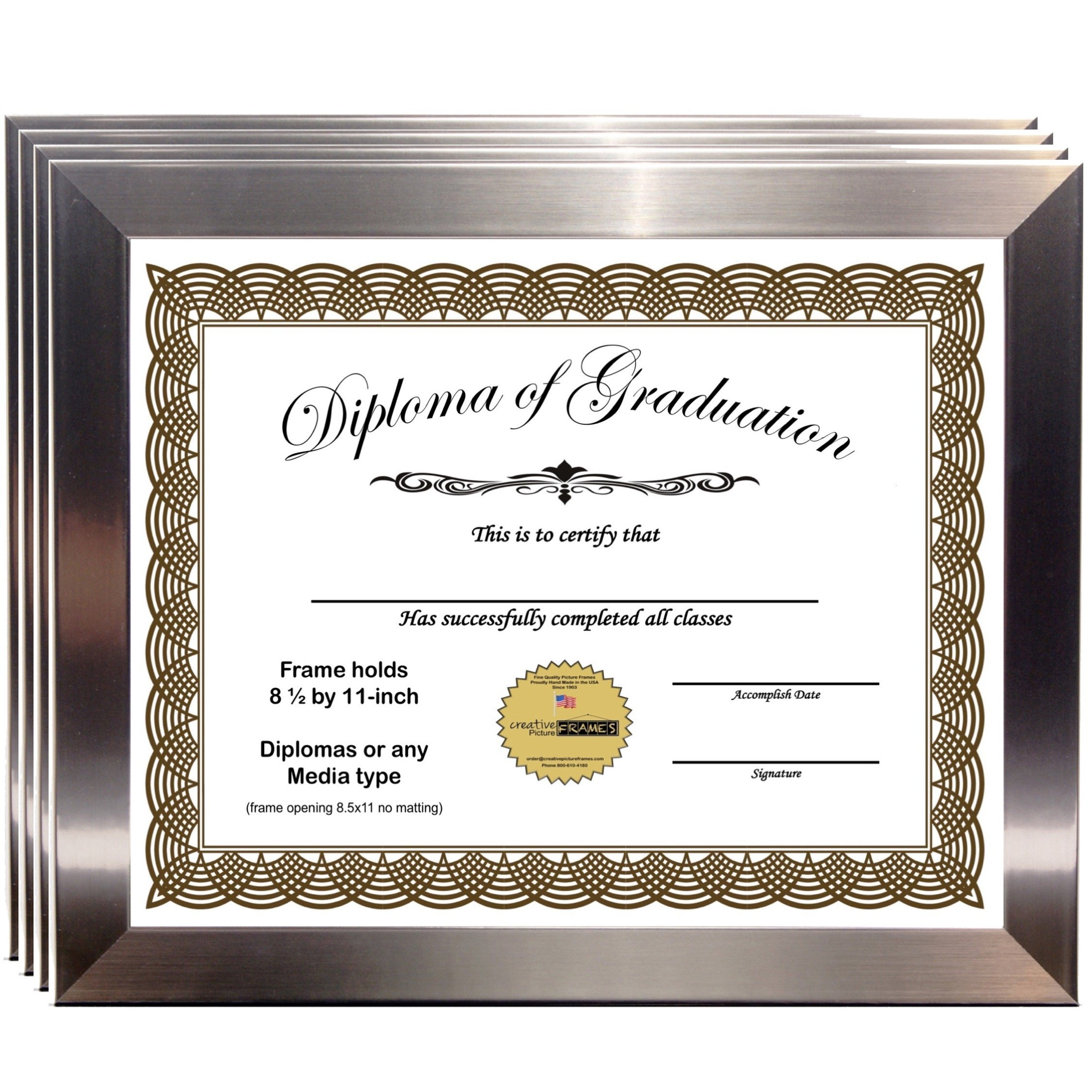 CreativePF [6I9P-8.5x11ss] Stainless Steel Document Frame Displays 8.5 by 11-inch Certificate, Graduation, University, Diploma Frames with Stand & Wall Hanger (Pack of 4)
