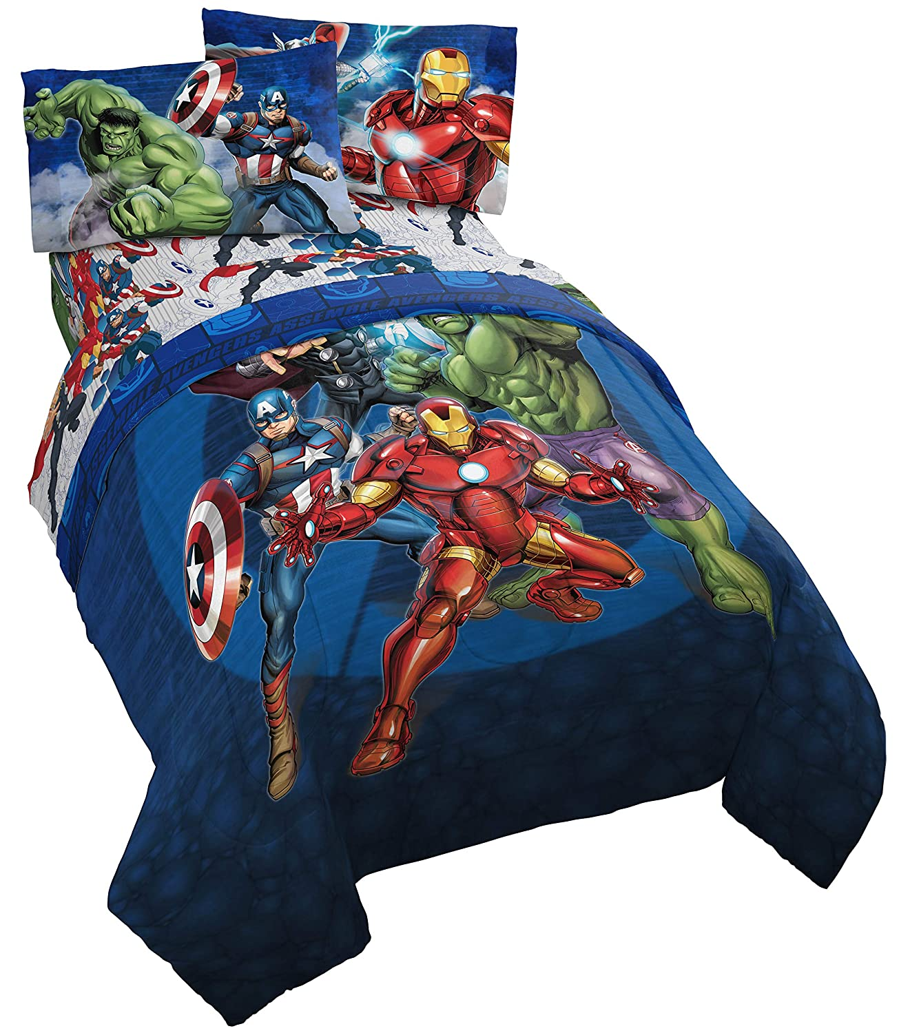 Jay Franco Marvel Avengers Blue Circle 5 Piece Full Bed Set