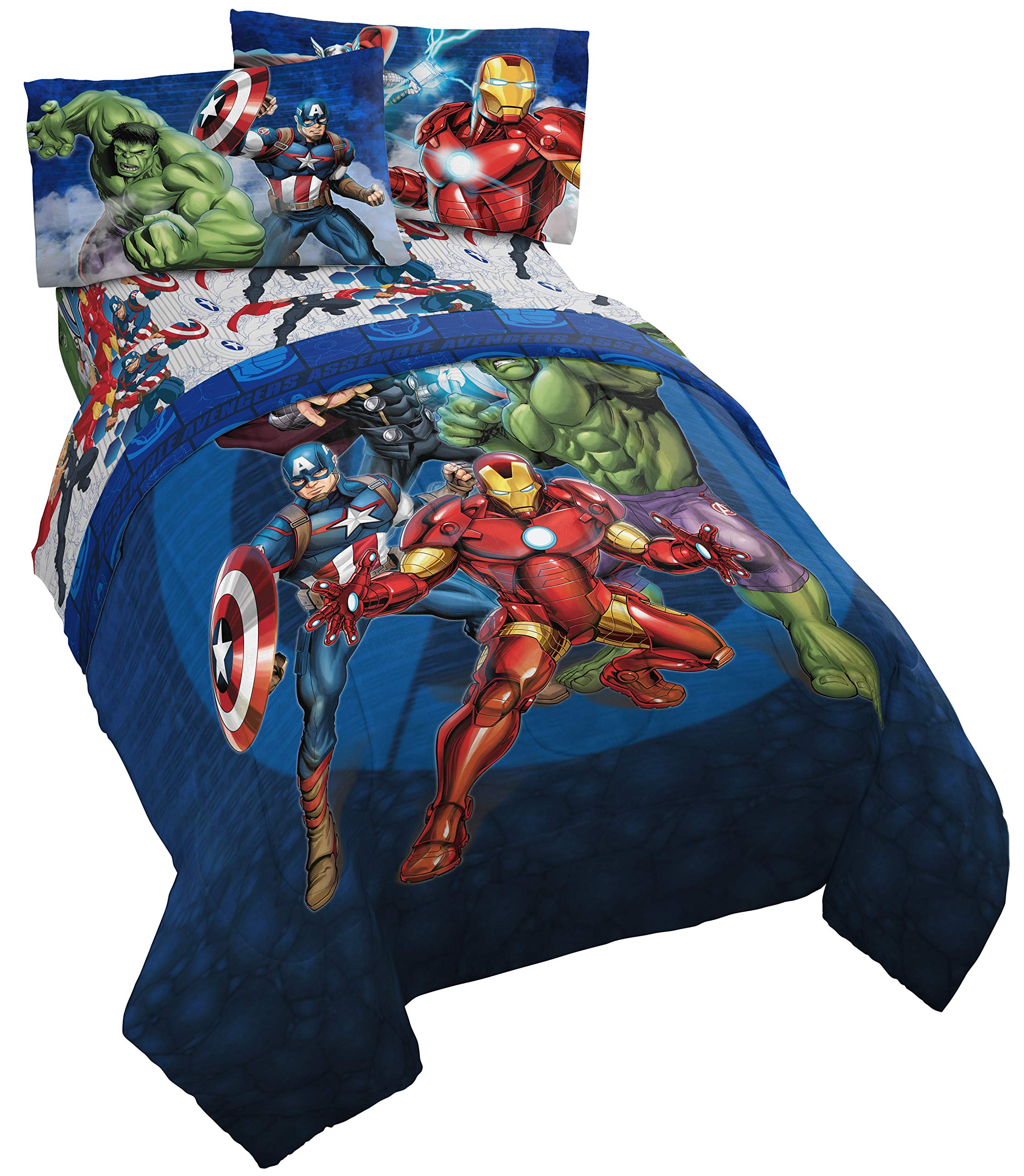 Jay Franco Marvel Avengers Blue Circle 4 Piece Twin Bed Set, by Jay Franco