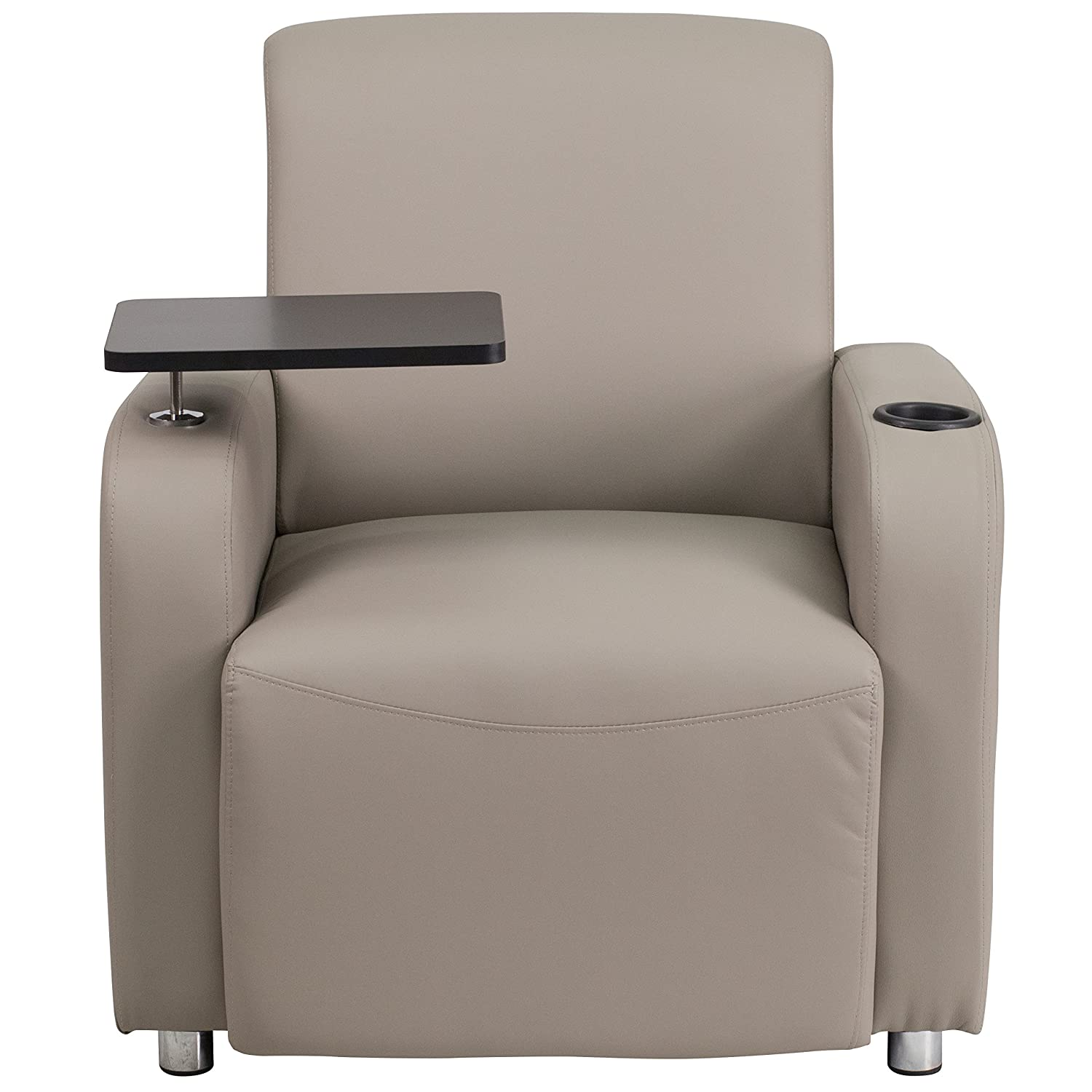 Amazon.com: Flash Furniture Gray Leather Guest Chair With Tablet Arm,  Chrome Legs And Cup Holder: Kitchen U0026 Dining