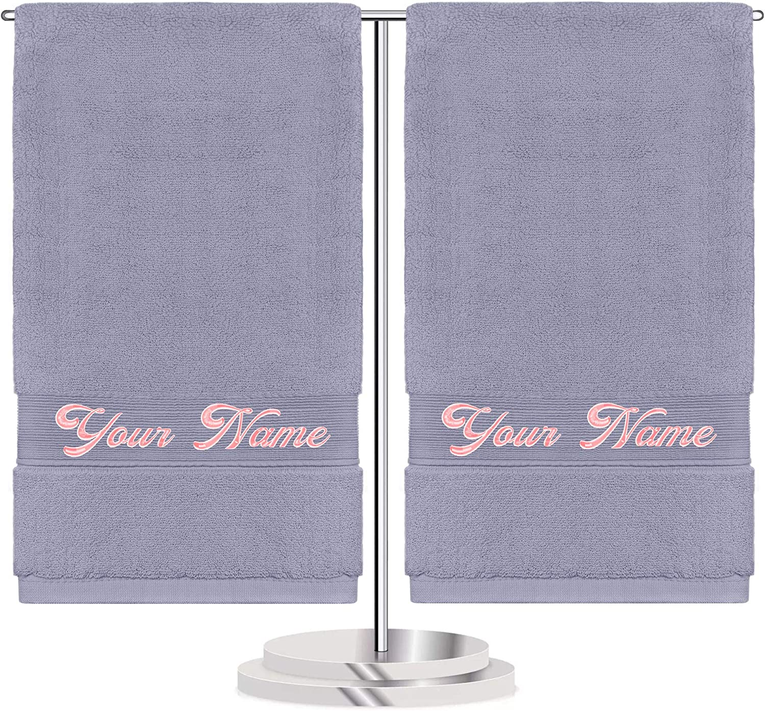 Monogrammed Towels,Personalized Embroidered Hand Towels for Bathroom Custom Towels Set Gift Customized Embroidery Name & Logo Towels (Gray)