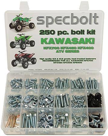 250pc Specbolt Kawasaki KFX450R KFX700 ATV Bolt Kit for Maintenance &  Restoration OEM Spec Fasteners KFX 450 700 400