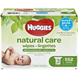 HUGGIES Natural Care Unscented Baby Wipes, Sensitive, Water-Based, 3 Refill Packs, 552 Count Total