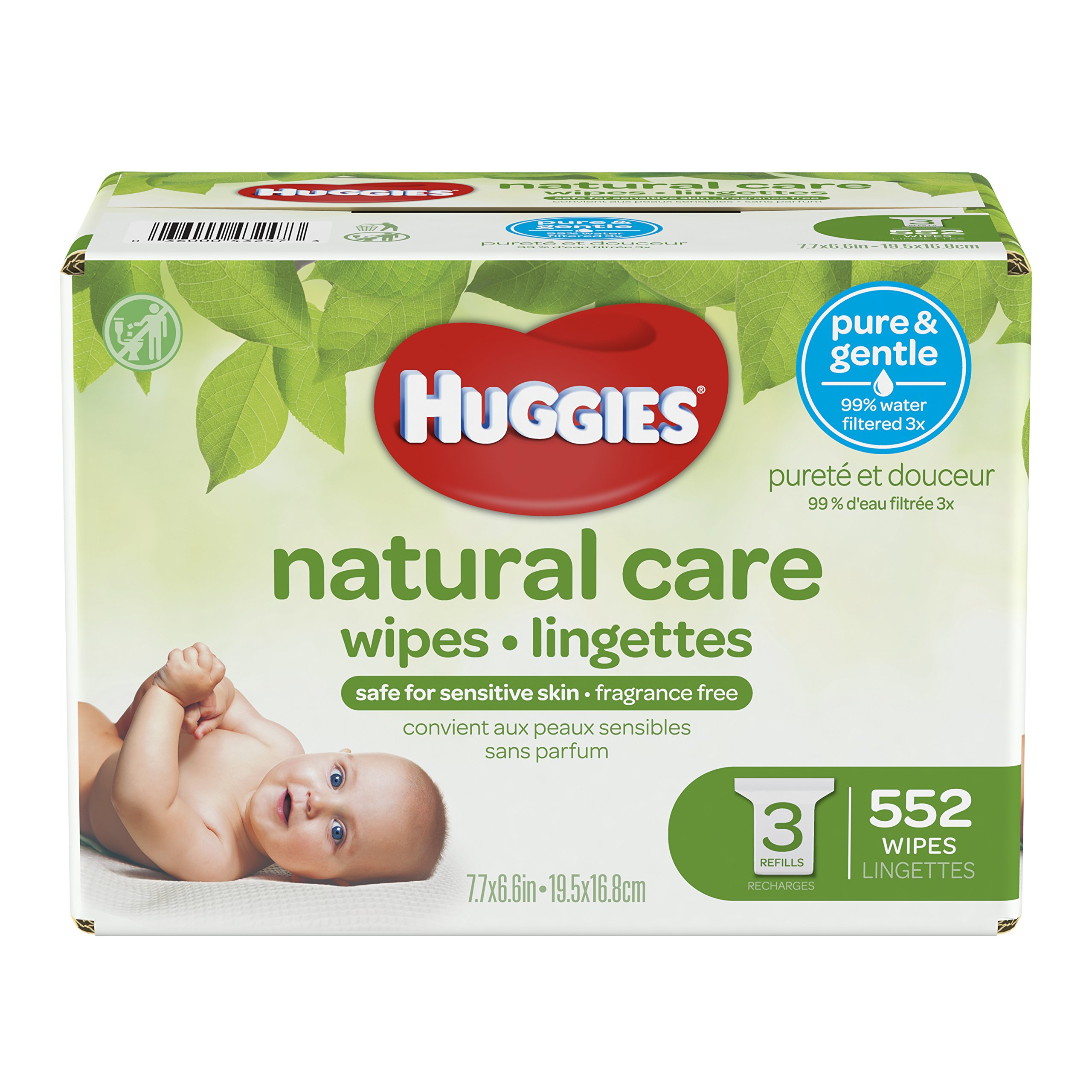 HUGGIES Natural Care Unscented Baby Wipes, Sensitive, Hypoallergenic, Water-Based, 3 Refill Packs, 552 Count Total by HUGGIES