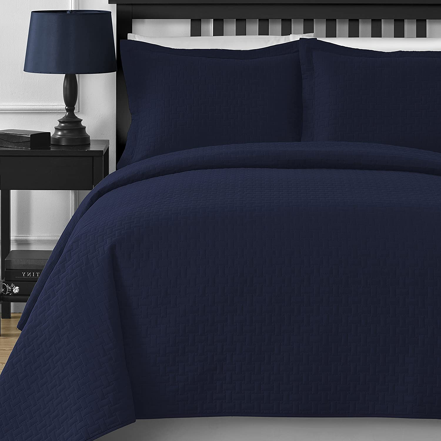 Comfy Bedding Frame 3-piece Bedspread Coverlet Set (King/Cal King, Navy Blue