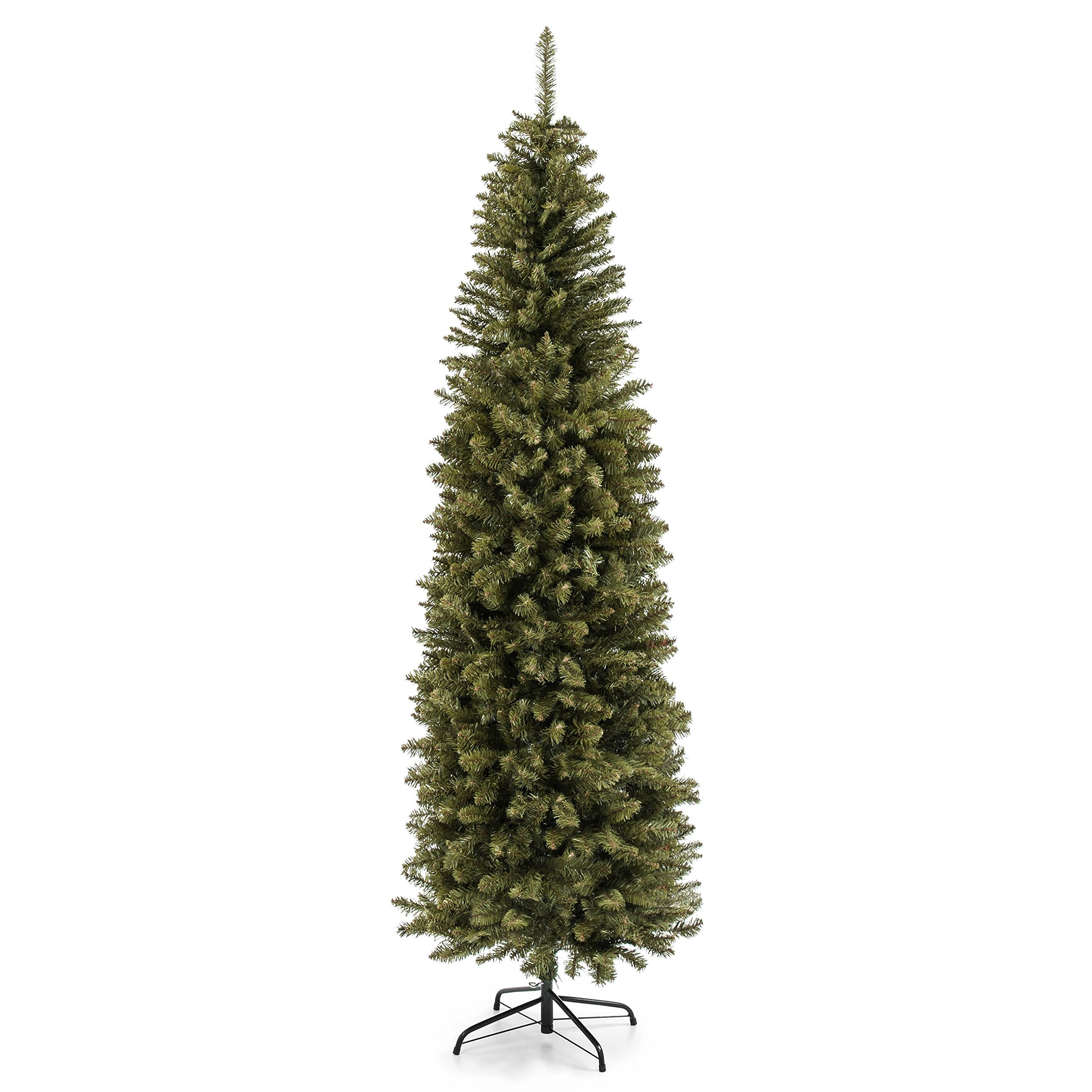 Best Choice Products 7.5 FT Premium Hinged Fir Pencil Christmas Tree w/Stand