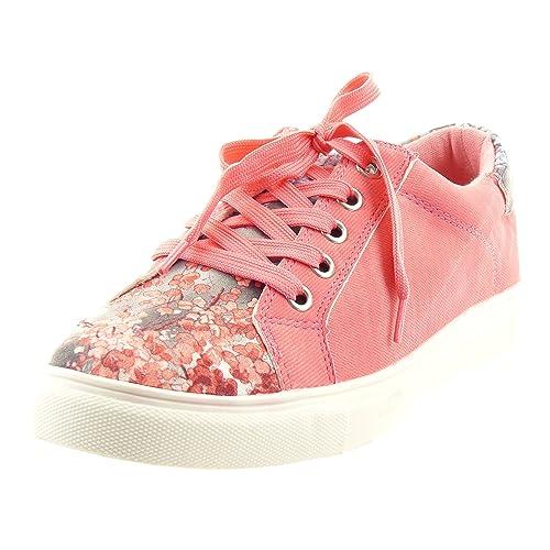 Sopily - Zapatillas de Moda Deportivos Tobillo mujer flores Talón Tacón ancho 2.5 CM - plantilla sintético - Rosa CMD-5-5568-21 T 40: Amazon.es: Zapatos y ...
