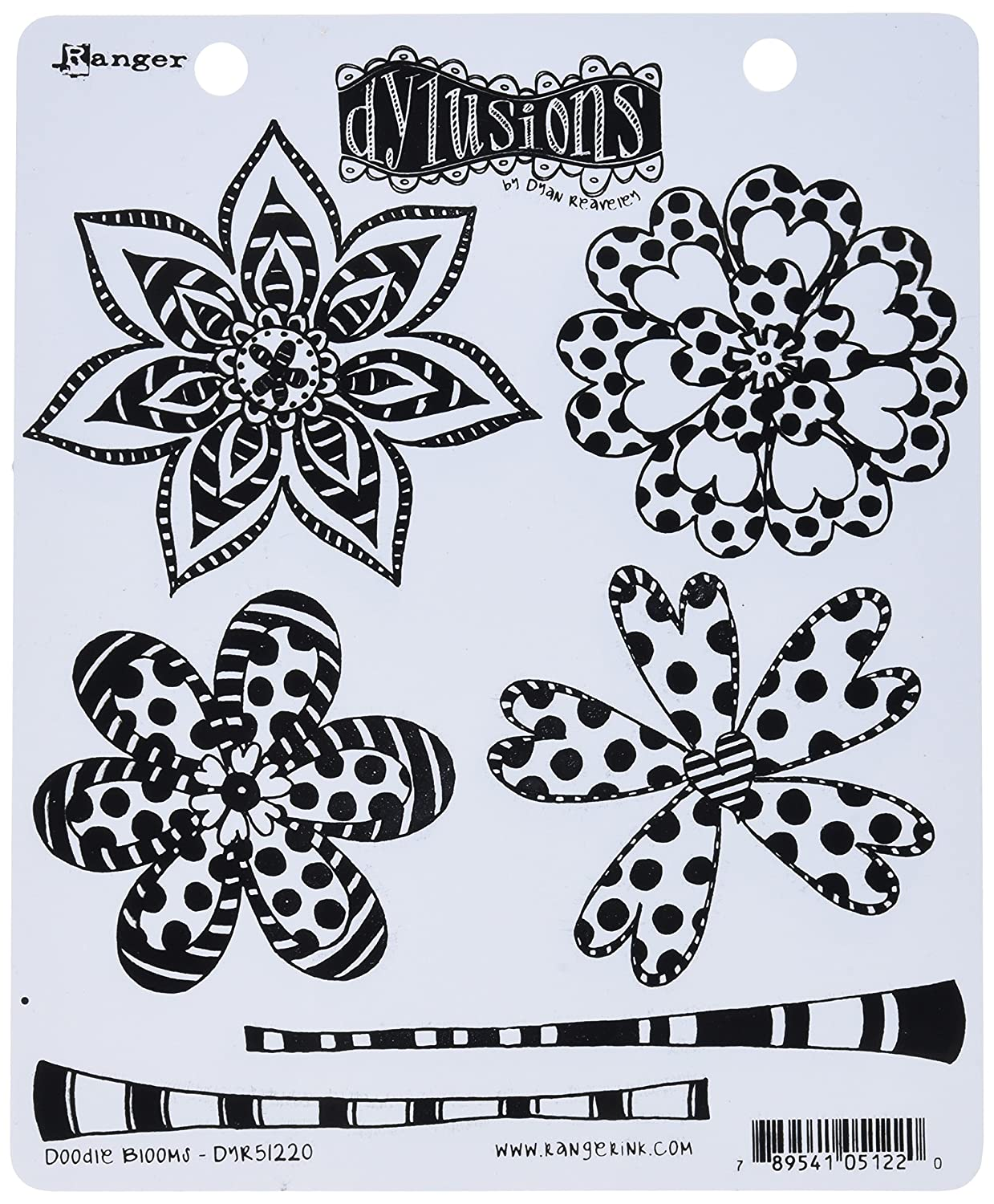 Ranger DYR51220 Doodle Blooms Dyan Reaveley's Dylusions Cling Stamp Collections, 8.5 by 7, Clear 8.5 by 7