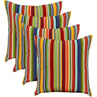 """RSH DECOR Set of 4 - Indoor/Outdoor 17"""" Square Decorative Throw Toss Pillows ~ Southport Stripe Black White Green Yellow Red Coral Blue"""