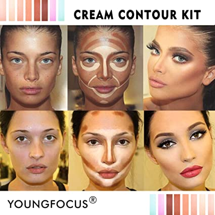 Youngfocus Cosmetics Cream Contour Best 8 Colors Contouring Foundation ,  Highlighting Makeup Kit/Concealer Palette , Vegan, Cruelty Free and