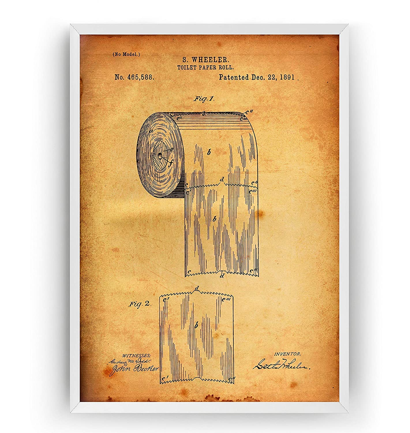 A5 historic household wall art Toilet Paper Holder  Patent art print 1891  A4