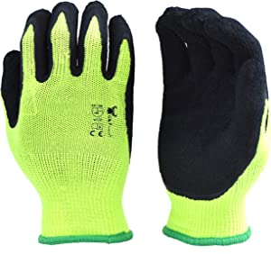 G & F Products G & F 1516 6 Pairs Pack Premium High Visibility Low Emissions Green Work and Gardening Gloves for Men and Women.MicroFoam Textured Coated Palm and Fingers Gloves for Gardening Work