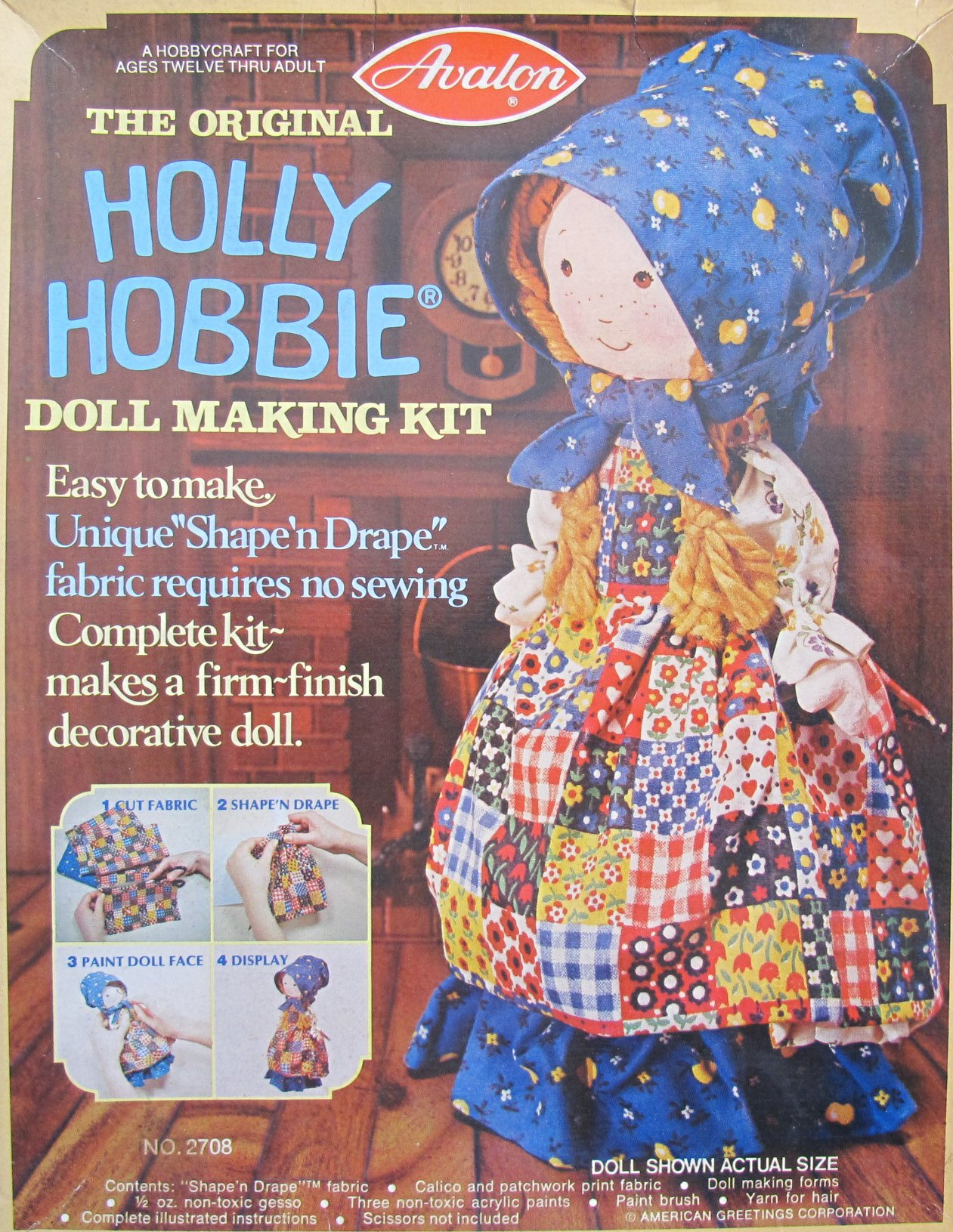 Avalon Original HOLLY HOBBIE DOLL MAKING Complete KIT Makes 9-1/2'' DECORATIVE DOLL Requires NO Sewing (1976) by The Original Holly Hobbie Doll Making Kit (Image #1)