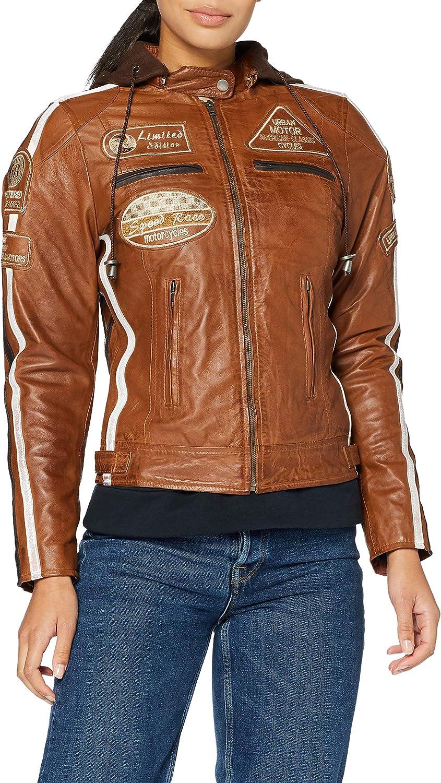 Chaqueta Moto Mujer de Cuero Urban Leather '58 LADIES' | Chaqueta Cuero Mujer | Cazadora Moto de Piel de Cordero | Armadura Removible para Espalda, Hombros y Codos Aprobada por la CE |Tan | M