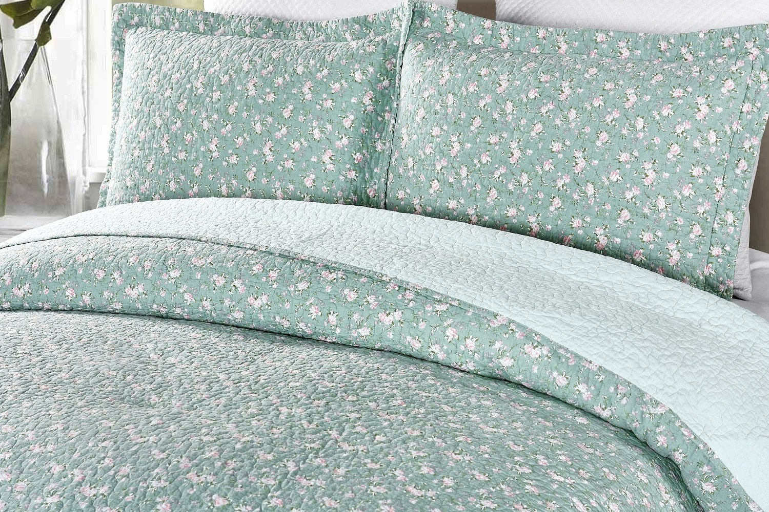 Chezmoi Collection 3pc Blue Floral Garden Vintage Washed 100/%-Cotton Reversible Quilt Set Green Living Group Queen