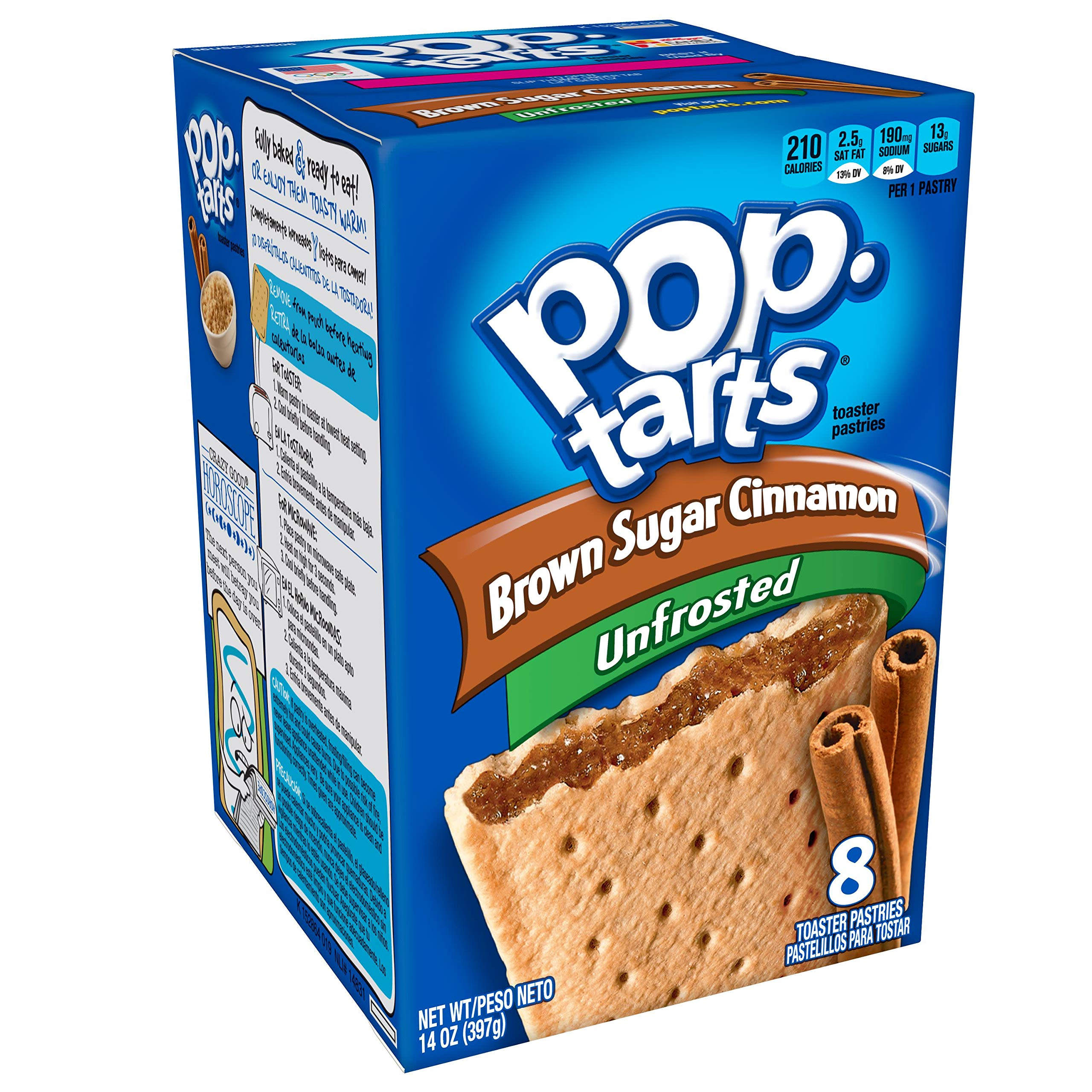 Pop-Tarts Breakfast Toaster Pastries, Unfrosted Brown Sugar Cinnamon Flavored, 14 oz (8 Count)(Pack of 12)