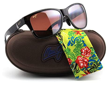 b612a9704b1 Amazon.com  Maui Jim ROAD TRIP Polarized Rectangle Unisex Sunglasses (Black  and Grey Tortoise Frame
