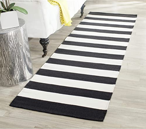 Single Piece Black White Cotton Runner Rug