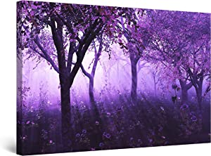 Startonight Canvas Wall Art - Purple Forest Light Abstract Fantasy, Framed 24 x 36 Inches