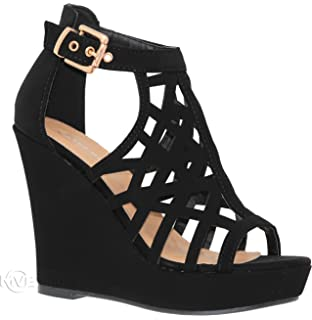 37b364bb3d55 MVE Shoes Women s Platform Cut Out Buckle Open Toe Wedges