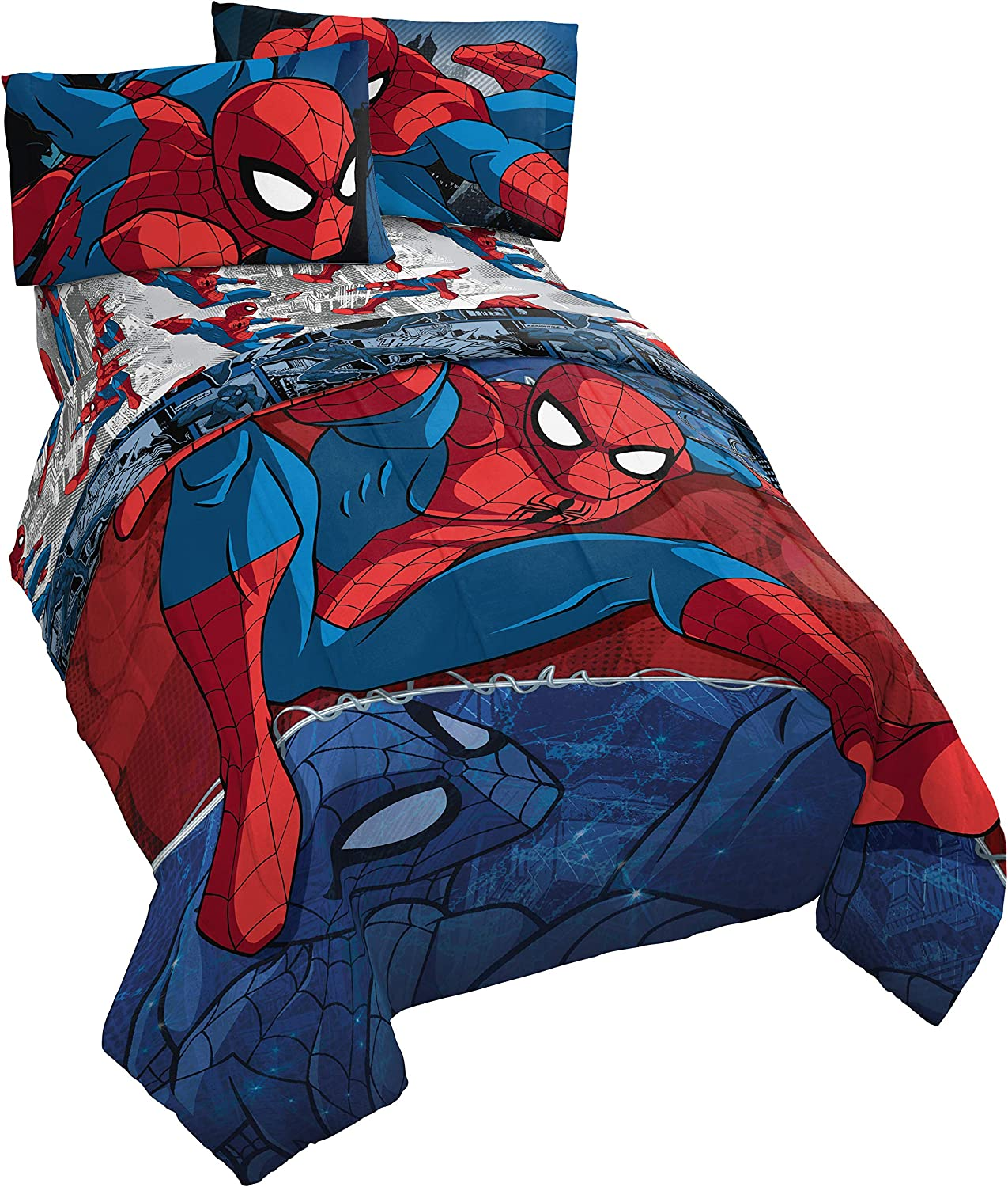 Jay Franco Marvel Spiderman Burst 4 Piece Twin Bed Set - Includes Reversible Comforter & Sheet Set - Bedding - Super Soft Fade Resistant Microfiber - (Official Marvel Product)