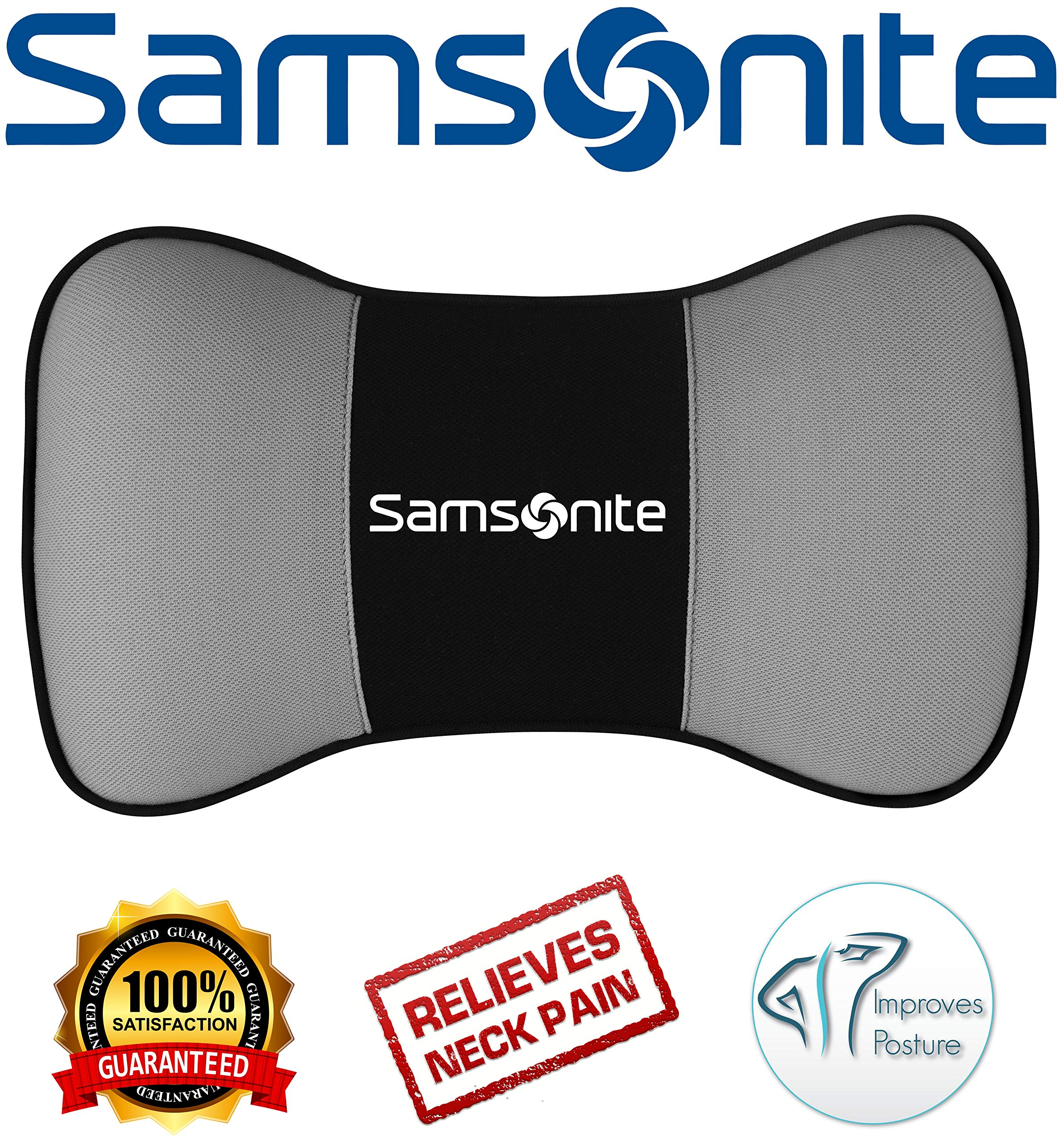 Samsonite SA5249  Travel Pillow for Car, SUV  Helps Relieve Neck Pain & Improve Circulation @% Pure Memory Foam  Fits Most Vehicles