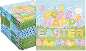 Happy Easter Paper Napkins, Spring Party Decorations (5 x 5 In, 150 Pack)