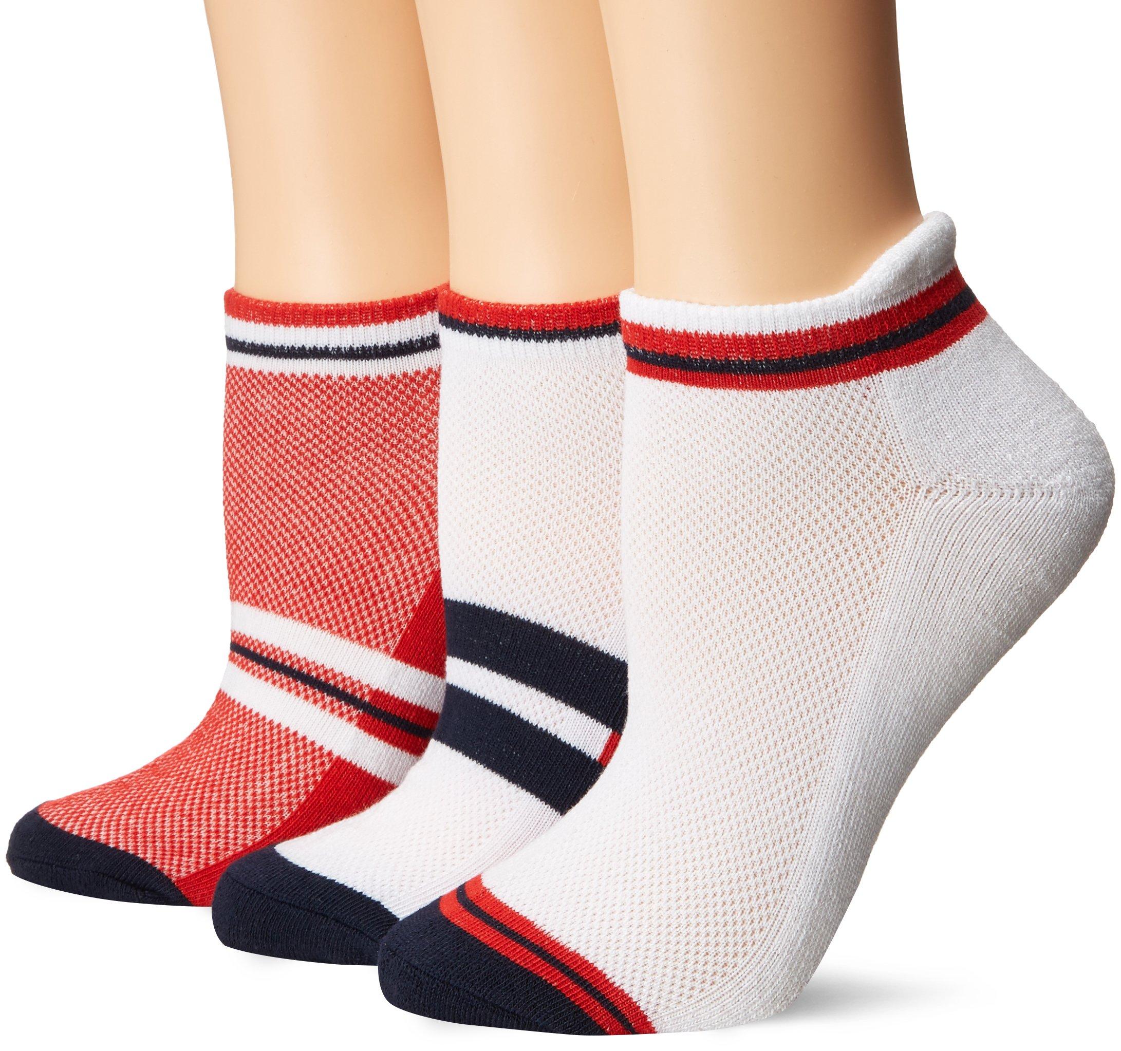 LPGA socks & Legwear Womens LPGA Color Collection 3-Pair-White/Red/Blue-9 to 11, Red, 9-11