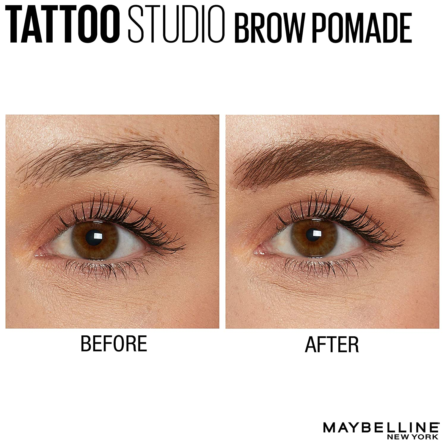 ff34848e70c Amazon.com: Maybelline New York Tattoostudio Brow Pomade Long Lasting,  Buildable, Eyebrow Makeup, Medium Brown, 0.106 Ounce: Beauty