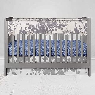 "product image for Glenna Jean Crib Skirt, Nursery Crib Bedding Skirt for Baby Boys & Girls, 16"" Drop, Animal Print for Boys & Girls, White/Grey"