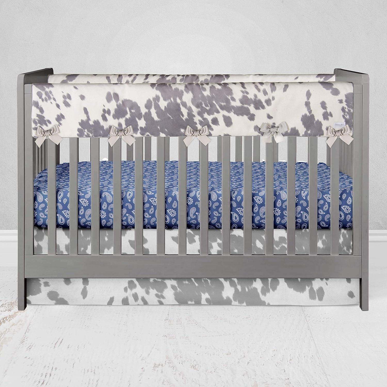 Glenna Jean Baby Crib Convertible Long Rail Guard Protector & White Cow Animal Print Jungle for Baby Boys & Girls, Standard, Grey