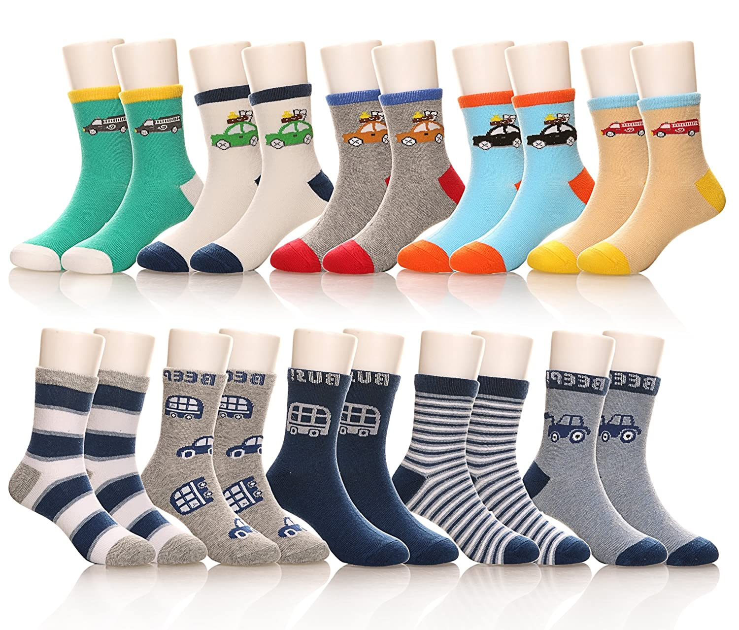 10 Pairs Kids Girls Boys Fashion Soft Cute Breathable Cotton Crew Socks