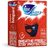 Fine Guard Sport Anti-Viral Face Mask - Olympian Endorsed, Running, Gym, Fitness, Yoga, Cycling - Large [2 x Reusable…