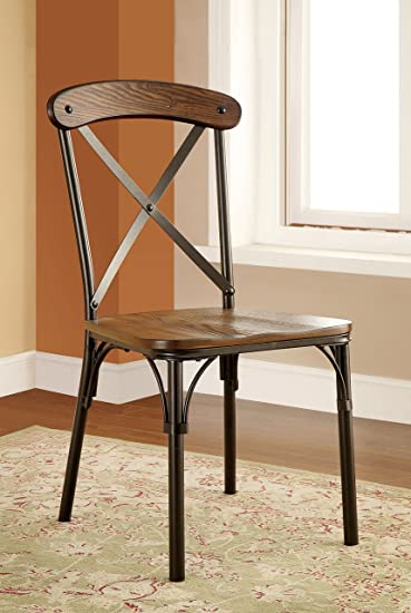 Amazon.com   Furniture Of America Rizal Industrial Style Round Dining  Chair, Set Of 2   Chairs