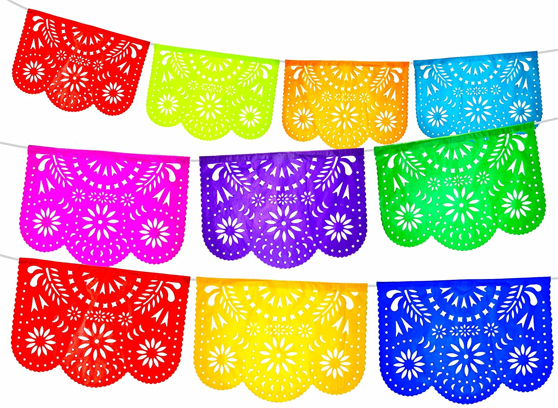 Fiesta Brands 2 Pack. Mexican Papel Picado Banner.Colores de Primavera.Vibrant Colors Tissue Paper. Large Size Panels. Multicolored Flowers Design