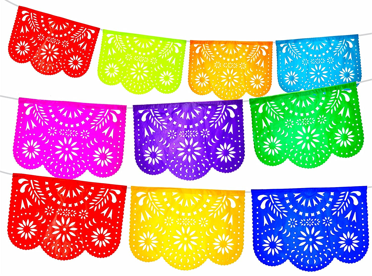 Fiesta Brands 2 Pack. Mexican Papel Picado Banner.Colores de Primavera.Vibrant Colors Tissue Paper. Large Size Panels. Multicolored Flowers Design DBM